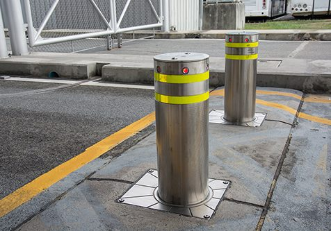 bollards with Security at the gate